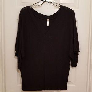 PLUS SIZE Black med arm length sweater